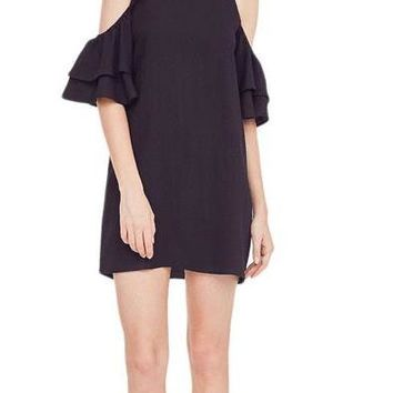 Women's Ruffle Cold Shoulder Spaghetti Strap Dress Summer Black Short Sleeve Shift Mini Dress Casual Dresses