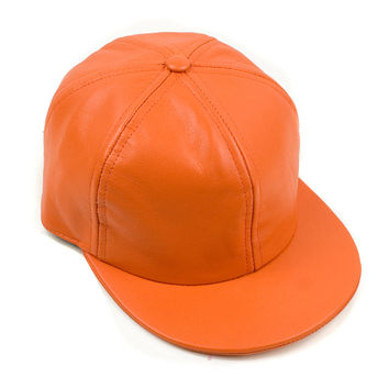 Orange Six Panel Leather Cap