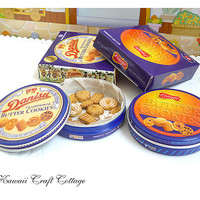 Dollhouse Miniature Food, Danish, Butter, Cookie, Tin, Biscuit, Fake, Faux, Food, Doll, Gift, Blythe, Blue, Metal, bjd, yosd, Tiny, Small