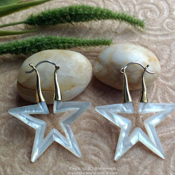 "Tribal Hanging Earrings, ""Cosmic"" Naturally Organic, Mother of Pearl, Brass/Sterling Posts, Hand Carved"