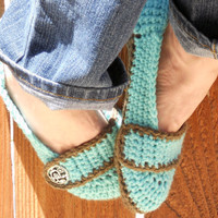 Aqua breeze button strap slippers booties shoes by ValkinThreads
