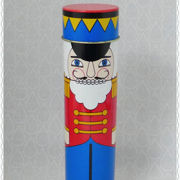 Rare Vintage Nutcracker Tin, Avon Christmas Toyland Candy Tin, Retro Holiday Decor, Red Blue Metal Container, Toy Soldier, 1984 England