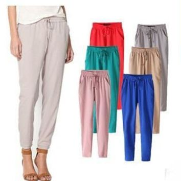 x140253 Fashion women candy pants 2015 in stock solid harem pants with drawstring women  capris plus size summer flat pants