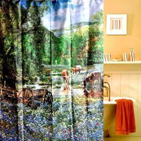 Waterproof Fabric Shower Curtain with Hooks 180cm by 180cm Pasture Cattle Painting Style (Size: 180cm by 180cm, Color: Multicolor)