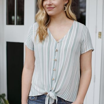 Beverly Striped Button Down Top, Sage/White