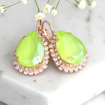 Lime Earrings, Lime Green Earrings, Green Earrings, Bridesmaids Lime Earrings, Gift For Her, Swarovski Crystal Lime Green Drop Earrings