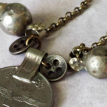 """Bohemian gypsy necklace. Vintage tribal findings and a old afghani silver coin. Brass Chain Necklace. """"Epic"""""""
