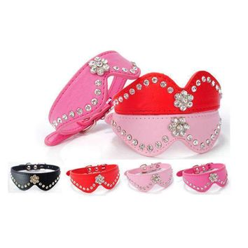 New Big Dog Leash Buckle Necklace Leather Pet Puppy Dog Cat Collar Rhinestone Collar harnais pour chien petit chien