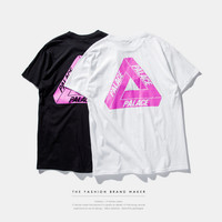 """PALACE"" Letter and Triangle Print Short Sleeve T-Shirt"