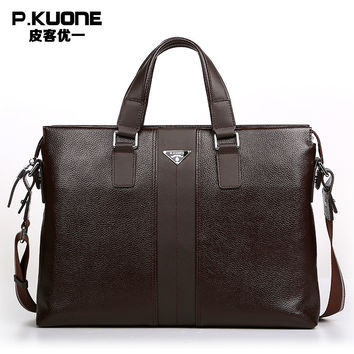 P.Kuone Brand Designer 100% cowhide genuine leather handbags man leather business briefcase male laptop bag men messenger bags