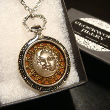 Sun and Moon over Etched Gear Pocket Watch Style Pendant Necklace (1920)