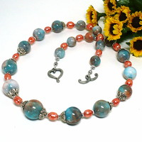 Sky Blue Jade and Papaya Freshwater Pearl Handmade 18 inch Necklace