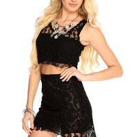Black Netted Sleeves Summer Cute Casual 2 Piece Outfit