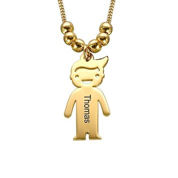 Personalized Children Charms Mothers Necklace - Engraved Boy-Girl Charm - Gold Plated Gift for Mom