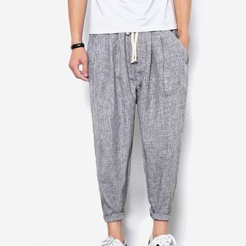 Summers Linen Pants Men Casual Ankle-Length Harem Pants solid Linen Cotton Men's Pants 9 Pants Linen Trousers