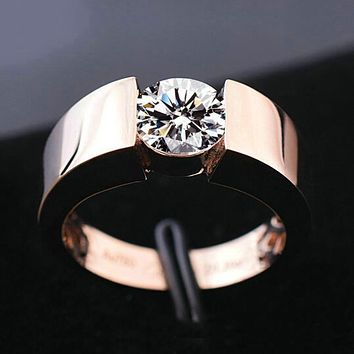 Classic Engagement Ring 18K Real Rose Gold Plated  New Fashion Wedding Ring for Men Women