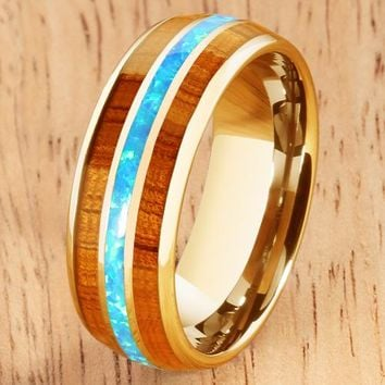 14K Yellow Gold Natural Hawaiian Koa Wood Center Opal Inlay Wedding Ring 8mm