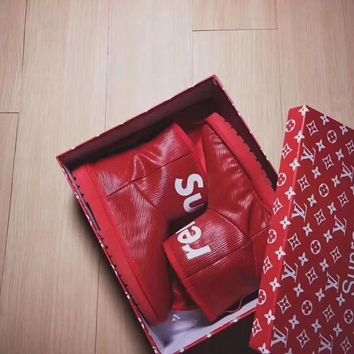 louis vuitton x supreme x ugg women boots color red