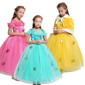 Children Sleeping Beauty Aurora Beauty and the Beast Belle Princess Long Party Girl Dress Kids Halloween Cosplay Costume Xmas