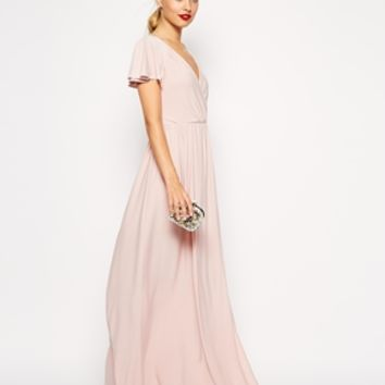 ASOS PETITE Flutter Sleeve Wrap Maxi Dress