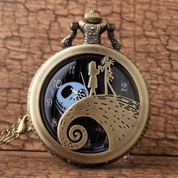 Retro Bronze The Nightmare Before Christmas Jack Skellington Tim Burton Movie Kid Toys Watches Fashion Black Quarzt Pocket Watch