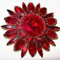 "Judy Lee Red Rhinestone Brooch Pin Designer Signed Layered Gold Metal 2 1/4"" Holiday Vintage"