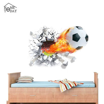 3D Foodball Wall Stickers / Kids Room Decals Modern 50*70cm