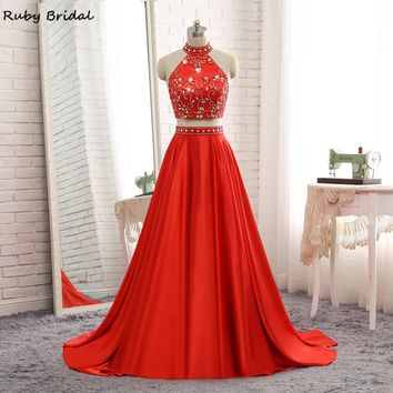 Ruby Bridal 2017 Vestido De Festa Long A-line Prom Dresses Red Satin Beaded Luxury Strapless Two Pieces Evening Party Gown P1214