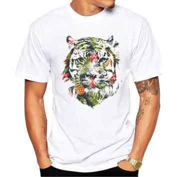 2018 Newest Fashion Printed Tropical tiger Design T Shirt Fashion Men's Hipster Fitness T-shirts Summer Brand Clothing Tops Tees