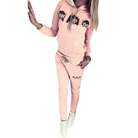 hot selling Women Monkey Emoji Long Sleeve Hooded Shirt Pants Two-piece Suit