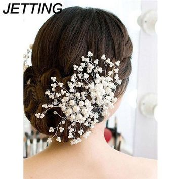 LMFN3C 1Pc Bridesmaid Bridal Hairpin Women Ladies Floral Wedding Pearl Crystal Party Hair Comb Hairpin Jewelry Hair Accessories