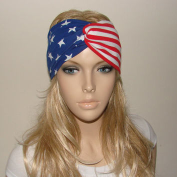 American Flag Turban Headband, USA Hair Band jersey knit, Patriotic Wide Yoga Headband, 4th of July twist headband Winter Olympics head wrap