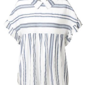 LE3NO Womens Casual Flowy Striped Ruffle Short Sleeve Peplum Shirt Top