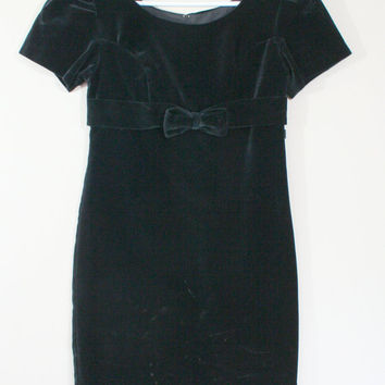 Vintage Anna Sui Black Dress 1980's amp s black velvet mini