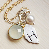 Initial Necklace Personalized Custom Hand Stamped Sterling Silver 14k Gold Fall Leaf Pearl Mint Light Green Aqua Chalcedony Charm Necklace