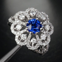 Round Sapphire Engagement Ring  Diamond Wedding 14k White Gold 2.6ct