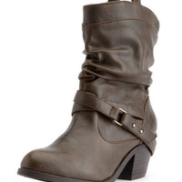 Charlotte Russe - Belted Low-Heel Western Boot