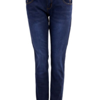 Three Button Front Skinny Dark Blue Jeans