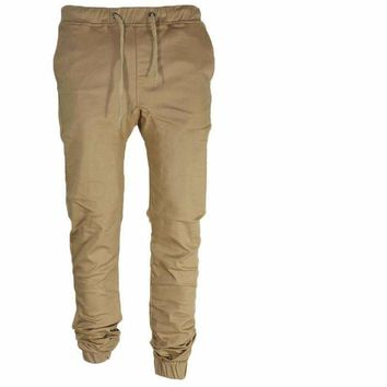 Men Leisure Causal Harem Pants Sportswear Hip Hop Chinos Trousers Cotton Sweatpants Elastic Cuff