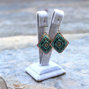 Turquoise Boho&Hippie Earrings with Anatolian Patterns, Ethnic Turkish Jewelry, Oriental, Authentic, Handmade, Copper, Ottoman, Everyday