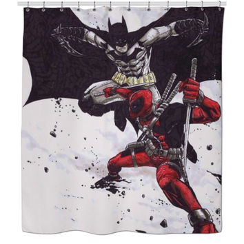 Batman/Deadpool Shower Curtain