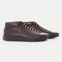 AS33 - Mid cut minimalist brown color leather sneaker