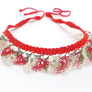 Lace Jewelry Necklace, Needle Lace, Wearable Art, Crochet Jewelry, Red, Free Ship, Turkish Oya Jewelry, Authentic, Gift For Her, Mothers Day