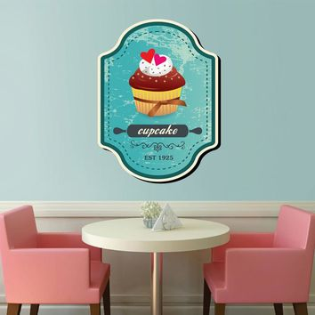 cik1121 Full Color Wall decal cupcake sweet pastry shop window snack restaurant