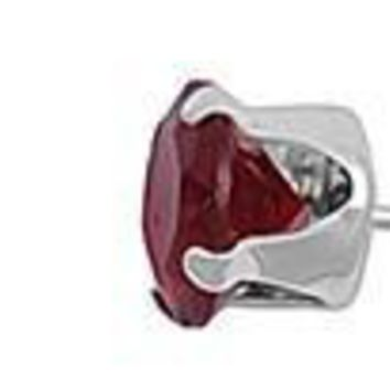 Garnet 2mm Round CZ Stud Earrings