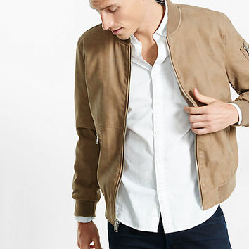 faux suede MA-1 bomber jacket
