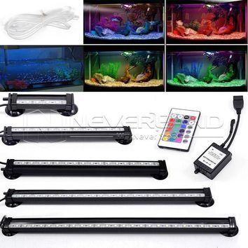 US AU EU Plug 12-46CM 5050 RGB LED Aquarium Fish Tank Submersible Light Air Bubble Lamp Remote New