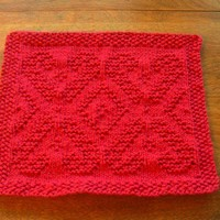 Hand Knit Dancing Candy Cane Christmas Picture Dishcloth or Washcloth