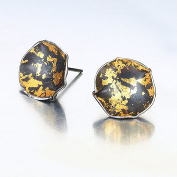 MEDEA  Post Earrings, one-of-a-kind 24K gold sterling silver earrings. Contemporary jewelry, artistic jewellery, black and gold earrings