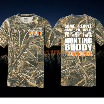 Real Tree AP  Hunting Boyfriend Shirt Hunting Buddy Shirt Hunting Gift For Him Bow Hunting svg His and Hers Shirt I'm Dating Mine Hunter